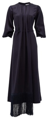 Gabriela Hearst Hestia Fringed-hem Silk-satin Midi Dress - Dark Navy