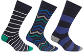 John Lewis Zig Zag Stripe Socks, Pack Of 3, Multi