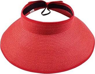 Bluelans Womens Roll Up Foldable Wide Brim Summer Sun Hat Beach Straw Visor Cap (Dark Blue)