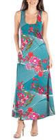 24/7 Comfort Apparel Sleeveless Floral Maxi Pocket Dress