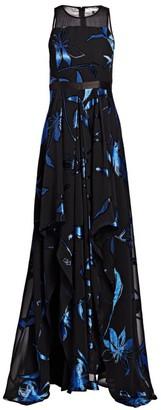 Halston Blossom-Burnout Handkerchief-Hem Gown