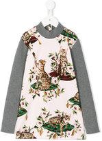 Dolce & Gabbana floral cat print top - kids - Cotton/Spandex/Elastane/Virgin Wool - 4 yrs