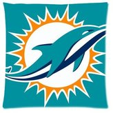Generic Pillow cover Generic Miami Dolphins Custom Zippered Pillow Case 16x16(two sides)