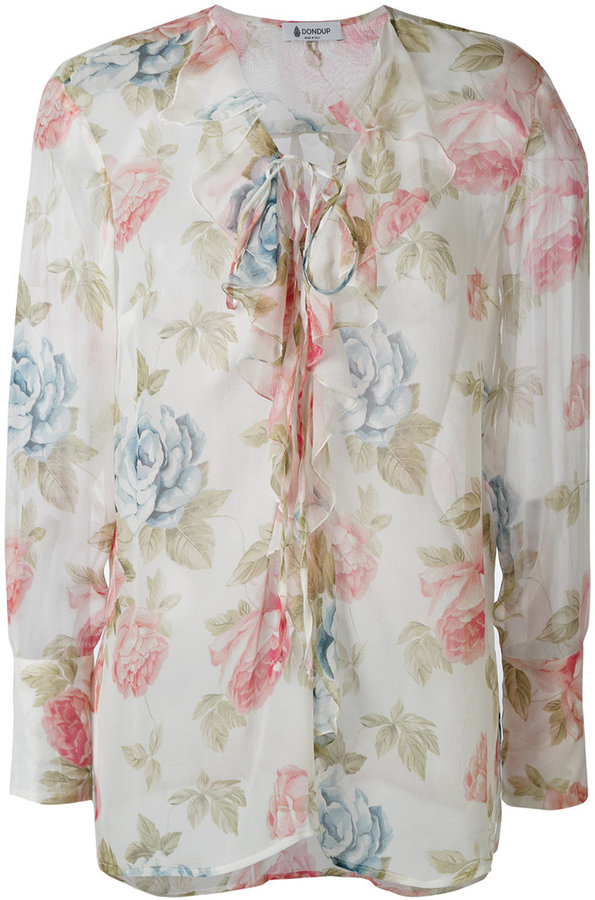 Dondup floral print semi-sheer blouse