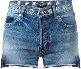 Saint Laurent eyelet denim shorts - women - Cotton - 26