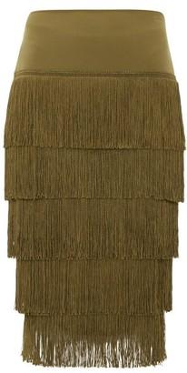 Norma Kamali Tiered-fringe Stretch-jersey Midi Skirt - Khaki