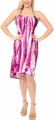 LA LEELA Everyday Essentials Women's Hand Tie Dye Short Beach Dress Vintage Casual Midi Evening Loungewear Short Sleeve Caftan Tunic Cover up One Size Large Cruise wear Green_L301 Size-14 (M)-20 (XL)