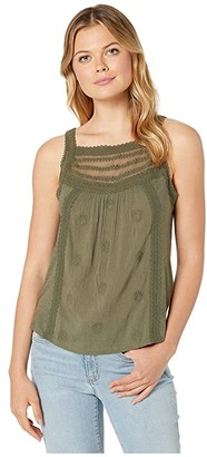 Lucky Brand Mixed Fabric Tank Top (Grape Leaf) Women's Clothing