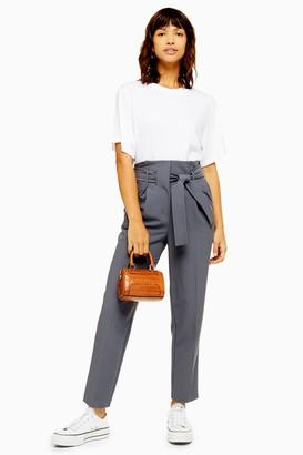 Topshop Womens Stitch Belt Peg Trousers - Slate