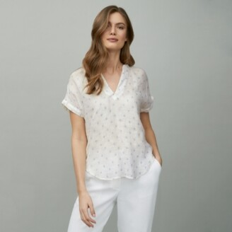 The White Company Linen-Gauze Printed Short-Sleeve Top, White Blue, 6