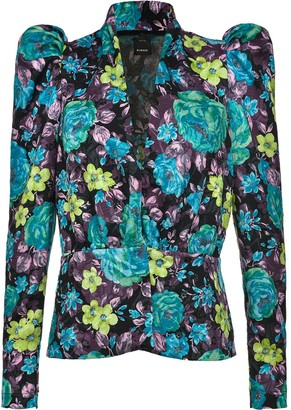Pinko Floral-Print Exaggerated-Shoulder Jacket
