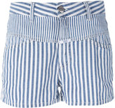 Closed striped shorts - women - Cotton/Linen/Flax - 26