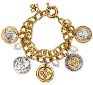 Patricia Nash Two-Tone World Coin & Freshwater Pearl (9mm) Double-Chain Charm Bracelet