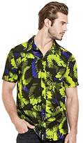 GUESS Men's Short Sleeve Neon Palm 1 Pocket Shirt