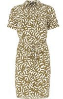 Dorothy Perkins Womens Khaki Animal Print Shirt Dress- Multi