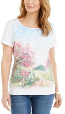 Karen Scott Petite Summer Cycle Graphic Top, Created for Macy's