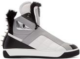 Fendi Tricolor Fur-Trimmed Monster High-Top Sneakers