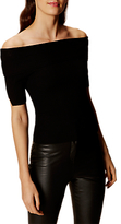 Karen Millen Bardot Ribbed Top, Black