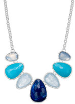 Charter Club Silver-Tone Blue Stone Frontal Necklace