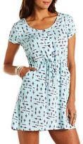 Charlotte Russe Strappy Back Printed Challis Dress