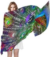 LORVIES Peacock Silk Scarf Lightweight Long Scarf Shawl Wrap for Women