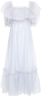 LoveShackFancy Tara Off-the-shoulder Ruffled Silk-organza Maxi Dress