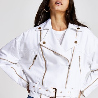 River Island Womens White zip front belted biker denim jacket