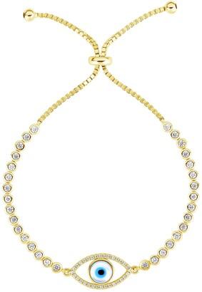 Sphera Milano 14K Yellow Gold Plated Sterling Silver Evil Eye Tennis Bracelet