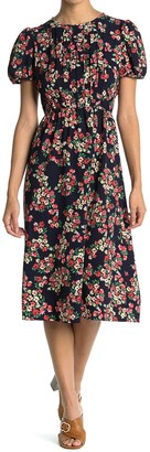 London Times Floral Pintuck Puff Sleeve Midi Dress