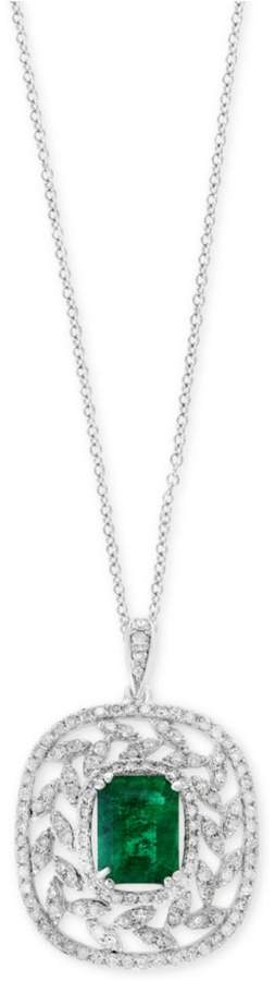 Effy Final Call by EFFYandreg; Emerald (1-3/8 ct. t.w.) and Diamond (1/2 ct. t.w.) Pendant Necklace in 14k White Gold