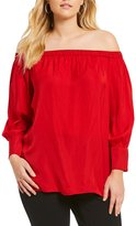Gibson & Latimer Plus Off-The-Shoulder Satin Top