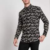 River Island Mens Black droplet print muscle fit shirt