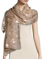Valentino Fil Coupe Flower Shawl, Wild Rose