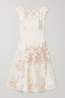 Talbot Runhof Korbut Metallic Floral-jacquard And Organza Dress - White