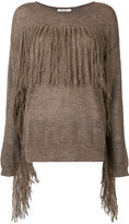 Mes Demoiselles fringed fitted sweater