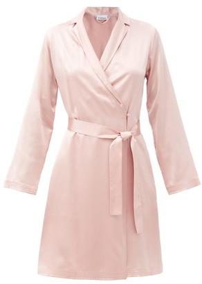La Perla Belted Short Silk Robe - Light Pink