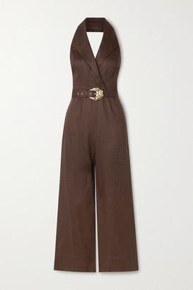 Nicholas Marie Belted Linen Halterneck Jumpsuit - Chocolate
