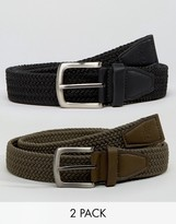 French Connection 2 Pack Plaited Belt in Khaki and Black