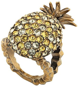 Gucci Crystal studded pineapple ring in metal