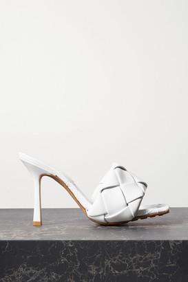 Bottega Veneta Intrecciato Leather Mules - White
