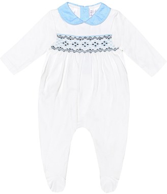 Rachel Riley Smocked cotton onesie