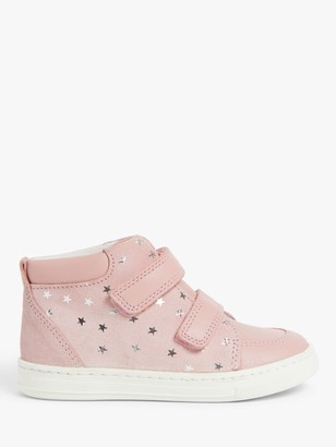 John Lewis & Partners Junior Suede Star High Top Trainers, Pink