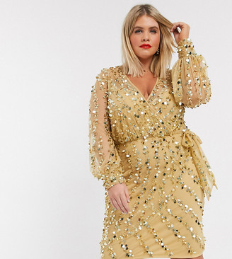 ASOS DESIGN Curve embellished robe mini dress with belt detail in gold