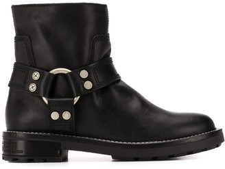 Diesel Harness Ring Logo Embossed Boots