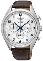 Seiko Ssb229p1 Chronograph Date Leather Strap Watch, Brown/silver