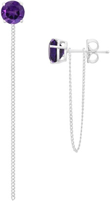Savvy Cie Sterling Silver White Amethyst Dangle Chain Stud Earrings