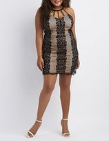 Charlotte Russe Plus Size Printed & Caged Bodycon Dres