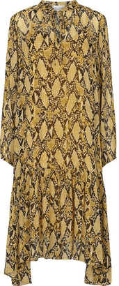 Second Female - Snake Midi Dress - Size XS | yellow ochre | viscose | loose fit - Yellow ochre