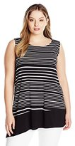 Rafaella Women's Plus-Size Striped Black and White Top