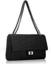 black quilted jersey flap shoulder bag